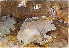"""Oxen"" by John Singer Sargent"