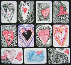 Heart Zentangle    (I especially love the heart in the middle column to the left...being repaired).