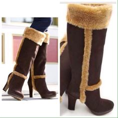 """Boston Proper Cozy Fleece And Suede Boot Fleece and suede high-heel boots for a cozy, but fashionable look. • Cow suede and faux fleece. • Imported. • 4"""" heel. • size 7  • Brown. • Circumference:7(15.7"""") • Shaft Height:7(17.4""""), Boston Proper Shoes Winter & Rain Boots"""