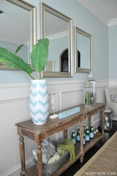 Dining Room - Sherwin Williams Comfort Grey with green and aqua decor