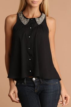 Black Top With Rhinestone Buttons And Beading