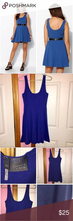 """Sparkle & Fade Blue Knit Skater Dress Sleeveless knit dress. Worn a few times so does have some pilling. Fit and flare style. Scoop neckline. Length laying flat starting at the top of the strap is approx 33"""". Bust is approx 32"""" and waist is approx 28"""". Stock photos from Urban Outfitters. (Belt is not included as seen in stock photos.) ❌NO TRADES❌ Sparkle & Fade Dresses"""