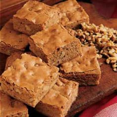 My mom made Butterscotch Brownies when I was a child. :-)  1 cup (2 sticks) unsalted butter  2 cups (well-packed) light brown sugar  2 large eggs, beaten  1 1/2 cups all-purpose flour  2 teaspoons baking powder  1 teaspoon salt  1 teaspoon vanilla extract  3/4 cup coarsely chopped walnuts (optional)