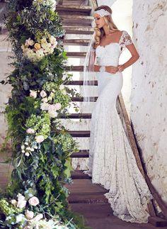 Brautkleider - $189.84 - Trompete/Meerjungfrau-Linie Herzausschnitt Kapelle-schleppe Spitze Brautkleid mit Schleife(n) (0025059995)