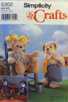 """Simplicity 5302 14"""" Bears and Clothes"""