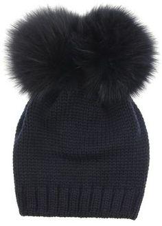b080433679ec Catya Junior Girls Navy Wool Knit Hat With Fur Pom Pom on shopstyle.co.