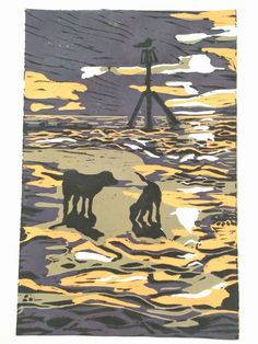 Dog Beach, Lino Cuts, Natural History, Cut Outs, Art And Architecture, Folklore, Printmaking, Stamping, Nautical