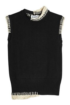 Shop Jil Sander Sleeveless Knit Top In Black from stores. On SALE now! Ropa Shabby Chic, Cool Outfits, Fashion Outfits, Fashion Tips, Classy Fashion, Petite Fashion, Hijab Fashion, Korean Fashion, Knit Fashion