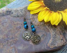 Lotus Flower & Chrysocolla Earrings~