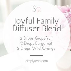 It's finally summertime! I wanted to put together a great joyful family diffuser blend to help us through the next couple of months before school starts again! I love spending time with my family, and it's great to have essential oils to help support a happy atmosphere!