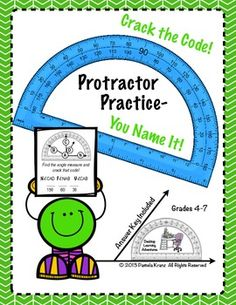 Protractor+Practice-+You+Name+It!+Crack+the+Code+is+a+fun,+yet+challenging+activity+that+is+loaded+with+mental+math+and+problem+solving+opportunities.++25+problems+are+included+and+19+of+those+are+needed+to+crack+the+code.++Students+will+need+to+have+a+strategy+to+read+the+angle+when+one+or+both+of+the+rays+dont+entirely+reach+the+protractor's+edge.