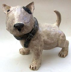 English Bull Terrier Puppy - ceramic sculpture - via http://cameocurio.wordpress.com/2012/05/24/thursday-wishlist-im-dog-broody/
