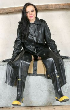 Heavy Rubber, Black Rubber, Firefighter Boots, Black Raincoat, Rubber Raincoats, Rain Gear, Raincoats For Women, Latex Fashion, Rain Boots
