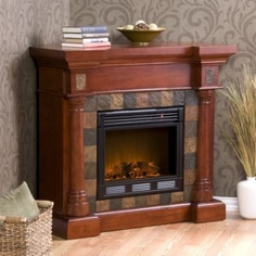 Carrington Slate Convertible Mahogany Electric Fireplace