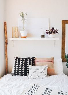 Bedroom shelf-headboard styling. Are you looking for unique and beautiful art photo prints to create your gallery walls? Follow us on Instagram: @bx3foto and visit: bx3foto.etsy.com