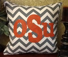 OSU Stenciled Chevron Pillow by BurlapPillowsEtc on Etsy, $40.00