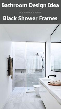 Bathroom Design Idea - Black Shower Frames