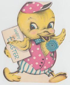 Vintage Greeting Card Easter Chick Die-Cut Norcross Cute 1940s j969