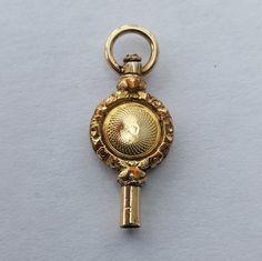 Gold Circular Design Watch Key Fob Charm  by LittleVintageCharmCo