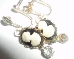 Gold Filled dangle Cameo Screw Back by PatsapearlsBoutique on Etsy, $29.99