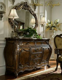 Gorgeous Marble Top Sideboard  With Ornate Looking Glass //This has to be in my bedroom