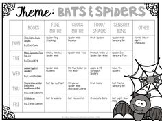 Tons of bat and spider themed activities and ideas. Weekly plan includes books fine motor gross motor sensory bins snacks and more! Perfect for fall and Halloween in tot school preschool or kindergarten. Lesson Plans For Toddlers, Preschool Lesson Plans, Preschool Activities, Vocabulary Activities, Spanish Activities, Dinosaurs Preschool, Infant Lesson Plans, Teaching Spanish, Fall Preschool