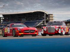 2011 Mercedes-Benz SLS AMG GT3 Black Falcon vs 1971 Mercedes-Benz 300 SEL 6.8 AMG