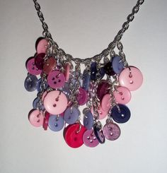 Purple+and+pink+button+necklace+by+TamedRaven+on+Etsy