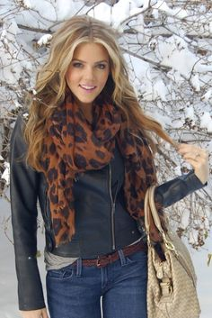 Moto jacket with a leopard scarf