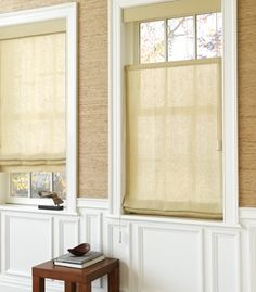 as shown: roman shades | linen sheers | ecru     http://www.theshadestore.com/product2/flat-roman-shade?prcid=2157
