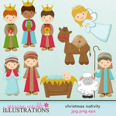 nativity clip art   Christmas Nativity Clipart Set