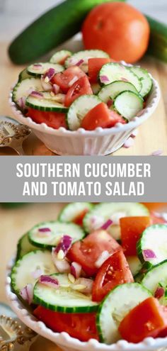 Summer Southern Food Easy Southern Cucumber and Tomato Salad is a classic southern salad full of fresh, healthy summer cucumbers and tomatoes which have been marinated in a simple, luscious vinegar-based salad dressing! Get the easy recipe today! Cucumber Salad Vinegar, Cucumber Tomato Salad, Cucumber Recipes, Easy Salads, Healthy Salad Recipes, Healthy Snacks, Easy Meals, Healthy Southern Recipes, Easy Recipes