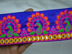 Embroidered Fabric Trims and Embellishments Saree Border