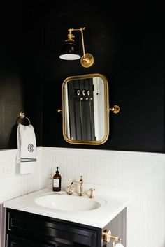Eclectic Black & White Bathroom: Before & After - Erin Kestenbaum Vintage Light Fixtures, Modern Light Fixtures, Vintage Lighting, Black Powder Room, Powder Rooms, Bathroom Before After, Black White Bathrooms, Blogger Home, European Home Decor