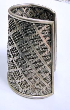 Very inspirational for jewelers!  India | old sterling silver wide mesh design cuff from Rajasthan.