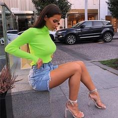 37a8355680e381 New 2018 Neon Green Turtleneck Crop Top Long Sleeve STYLEBUY™ WHOLESALE –  Wholesale Womens Clothing