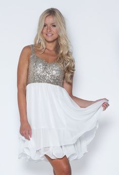 White Skater Dress with Sequin Embellished Sleeveless Top