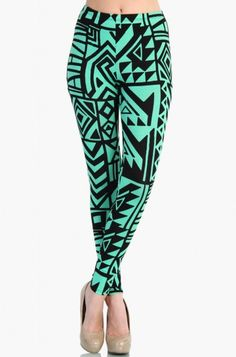 OMG High Waist Green Aztec Leggings