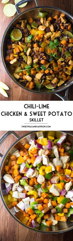 This Chili Lime Sweet Potato and Chicken Skillet is an easy one-pot dinner that is packed with healthy ingredients: chicken, sweet potatoes, black beans, and bell peppers. Flavored with lime juice and chili powder and ready in 45 minutes! Paleo Recipes, Dinner Recipes, Cooking Recipes, Dinner Ideas, Chili Lime Chicken, Mexican Chicken, Clean Eating, Healthy Eating, Chicken Skillet Recipes