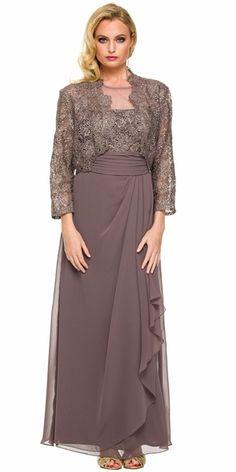 Plus Size Ankle Length Mother Bride Gown Mocha #discountdressshop #plussize #mocha #motherofbride #weddings #formal #modestfashion
