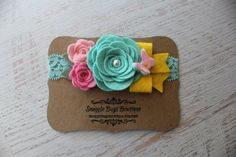 Large Rose Bouquet in Cool Mint, Pinks and Yellow-  Felt Flower and Butterfly Headband - Photo Prop - SBB Original