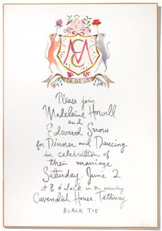 Invites by Happy Menocal via Vogue