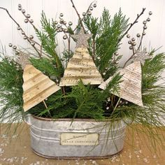 DIY: Easy & Beautiful Shabby Christmas Centerpiece with Folded Trees ! Total Cost $1