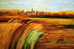 Evening Landscape with Red Dog by Galina Kakovkina
