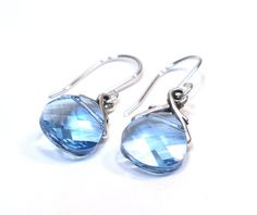 March Birthstone Earrings, Aquamarine Earrings, Bridesmaid Gifts, Wedding Jewelry on Etsy, $20.00
