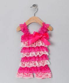 Look what I found on #zulily! Hot Pink & White Lace Ruffle Romper - Infant & Toddler by Just For Girls #zulilyfinds