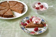 Recipe for crumbly, chewy almond rye shortbread with a robust but delicious flavour. Tart raspberry cream with whisky compliments it wonderfully well.
