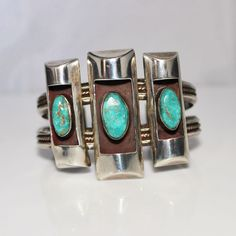 Vintage Native American Indian Turquoise Cuff Bracelet, Mod Style from jenandivintagejewels on Ruby Lane