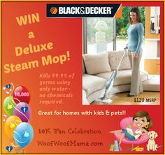 Win a Black & Decker Deluxe Steam Mop! Chemical-Free Cleaning is perfect for homes with pets & kids! {10K Fan Celebration Giveaway}