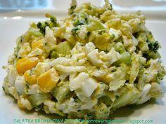 Składniki:    różyczki brokuł     torebka ryżu    szklanka kukurydzy konserwowej    2 jajka    zielony ogórek    szynka (opcjo... Diet Recipes, Vegan Recipes, Appetisers, Fried Rice, Food Dishes, Potato Salad, Food And Drink, Healthy Eating, Lunch